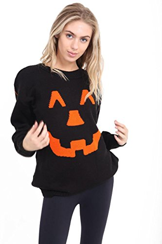 Womens Halloween Pumpkin Knitted Long Sleeve Sweater Jumper Top Dress 8-26 (Kabel Womens Long Sleeve)