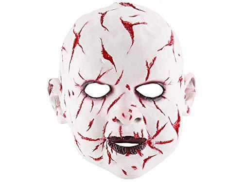 ATTOUPAN Halloween Designs Horror Bloody Bad Gesicht Grimasse Puppe Maske Halloween Tricky Maske Kopf Abdeckung (weiß)