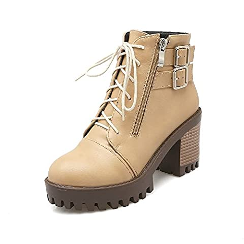 VogueZone009 Women's Ankle-high Solid Zipper Round Closed Toe High-Heels Boots, Apricot, 37