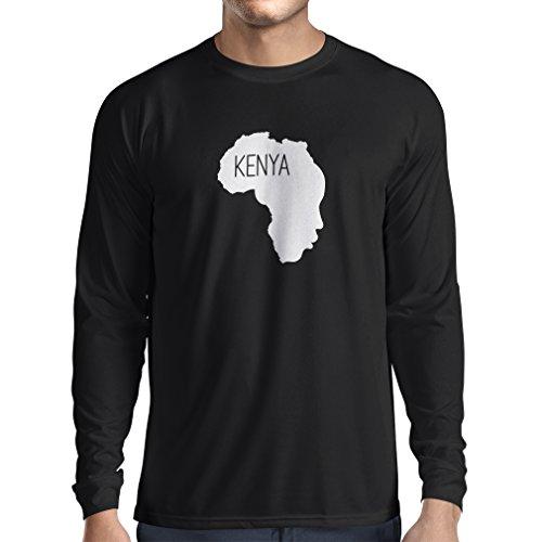 N4200L Speichern Kenia lustiges Geschenk, Langarm T-Shirt Schwarz Fluoreszierend