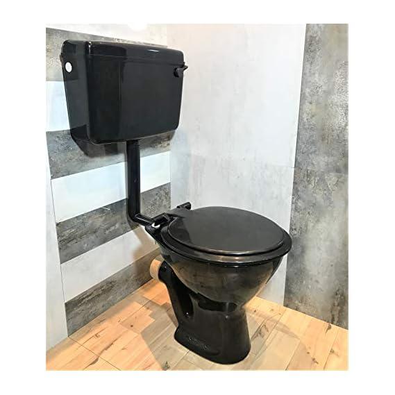 Ceramic Floor Mounted European Water Closet/Western Toilet Commode/EWC P Trap with Normal Seat Cover- Black & Premium Normal Flush Flush Tank Combo