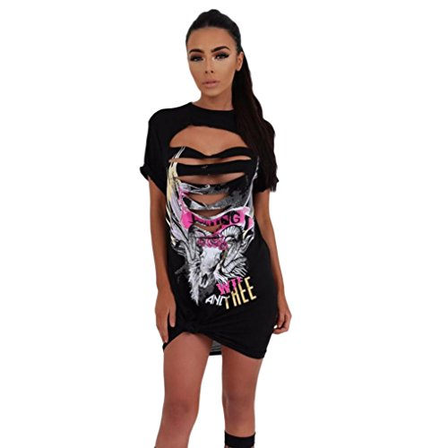 OverDose Damen Frauen Vintages weg vom Schulter Rock Art langes T-Shirt Minikleid Long Mini Dress B-Schwarz