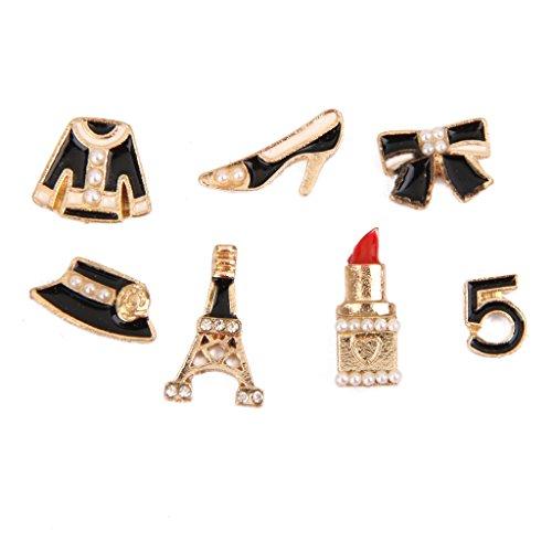 7pcs Adorno Joyas Botones Cristal Perla de Imitación Color Oro Acceso
