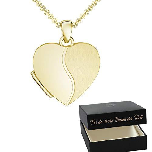 Foto Medaillon Herz Gold hochwertig vergoldet Herzkette Herz Anhänger zum Öffnen mit Kette inkl. GRATIS Luxus-Etui + – Herz Amulett Herzmedaillon Fotos Bild Bilder FF99 VGGG45
