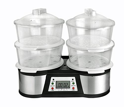 KALORIK DUO Digital Food Steamer, 12 Litre, 1500 W, Black/Silver