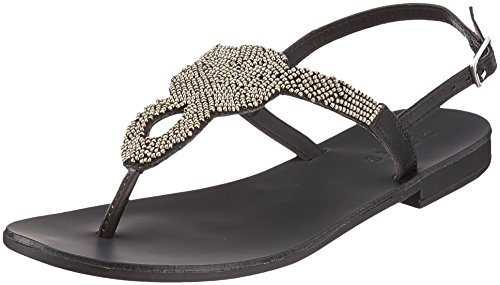 PIECES Damen Pscarmen Leather Sandal Zehentrenner Schwarz (Black)