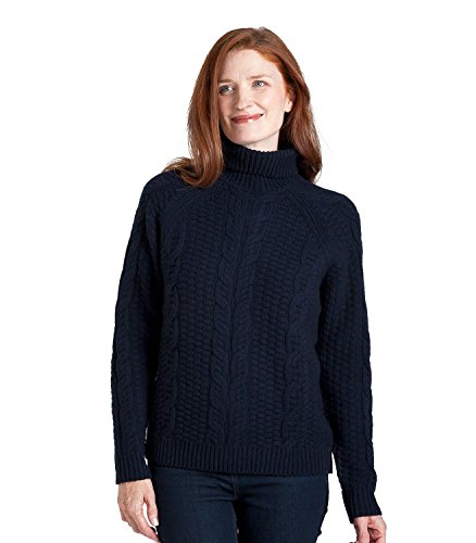 WoolOvers Womens Lambswool Chunky Cable Roll Neck Jumper Navy, S (Pullover Roll Trim)