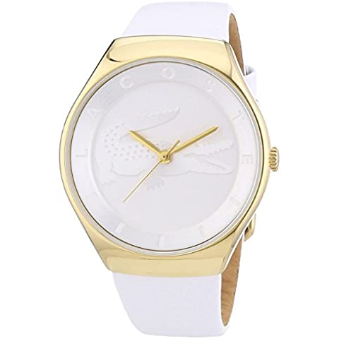 Lacoste VALENCIA three-hand Gold-tone y piel color blanco # 2000763–Reloj de mujer