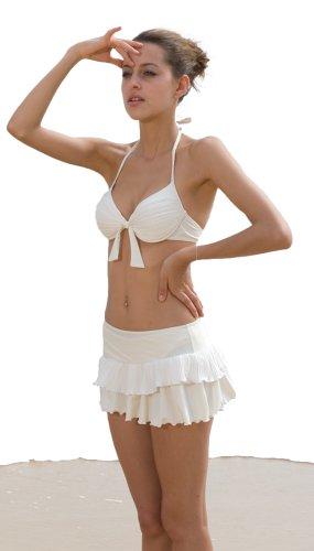 spass42 dreiteilig Damen push up Bikini Set mit mini Rock Slip Neckholder Bademode Pareo Strand Bade Rock Groesse: S (Set Bikini Rock)