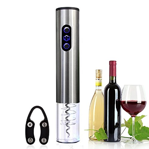 Asvert Elektrischer Flaschenöffner Elektrischer Korkenzieher für Champagner Weinflasche mit Aluminiumlegierung Schnurlose Batterien für Home Restaurant Bar, Grau