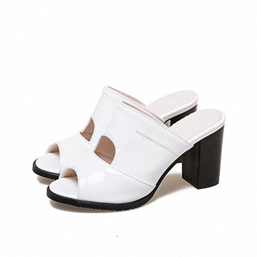 Ms. großen Yards Sommer Sandalen und Pantoffeln Lackleder Sandalen und Pantoffeln Sandalen Fischkopf aus White