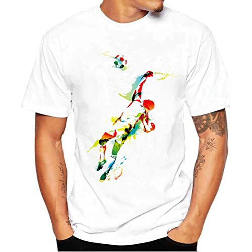 SOMESUN T-Shirt Herren Mode Sommer T-Shirts Fußball Herren T-Shirt Kurzarm Shirt mit Rundhalsausschnitt Weiß T Shirt O-Neck Drucken Top Slim Fit (03#, 4XL)