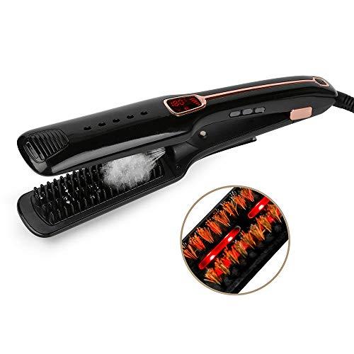 Curl Iron Spray (Infrarot-Dampfspray-Haarglätter, schwarz nach europäischen Vorschriften Haarglätter,Keratin Arganöl, Nanokeramikbeschichtung, Ionentechnologie, Temperaturregelung, innovativer Wärmeschutzsensor)