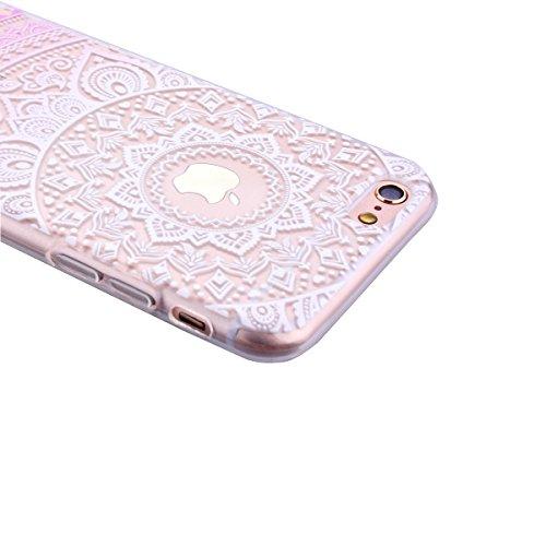 Für iPhone 6S Weich Hülle, iPhone 6 4.7 Zoll Handytasche, SMART LEGEND Weiche Silikon Schutzhülle klar Transparent Handyhülle mit Mandala Muster Tasche Indische Sonne Design TPU Ramen Crystal Bumper N Rosa