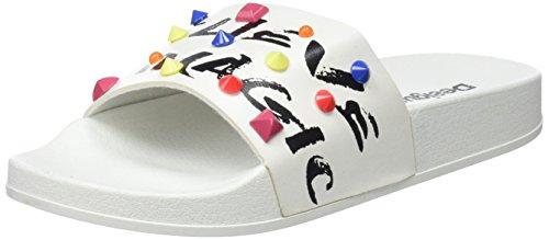 Desigual Shoes_Slide Candy Sandali Punta Aperta Donna, Bianco (1000 Blanco) 38 EU