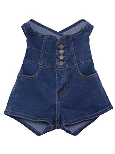 Damen Shorts klassische Hoher Bund Cross-Back Denim Shorts Mädchen Blau