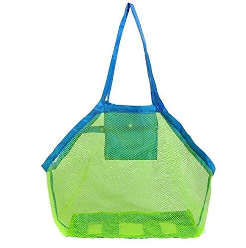 Leisial Bolsa de Almacenaje Organizaodr Juguetes de Playa Plegable Herramientas de Dragado de Malla para Niños,Color Verde 45*26*45cm