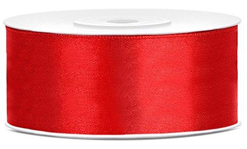 25m x 25mm Rolle Satinband Geschenkband Schleifenband Dekoband Satin Band (Rot (007)) (Rot Band)