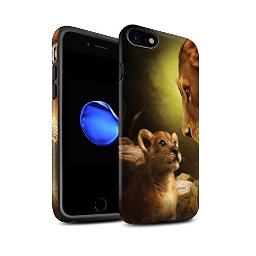 Officiel Elena Dudina Coque / Matte Robuste Antichoc Etui pour Apple iPhone 7 / Oui Maman/Lion/Petit Design / Les Animaux Collection Oui Maman/Lion/Petit