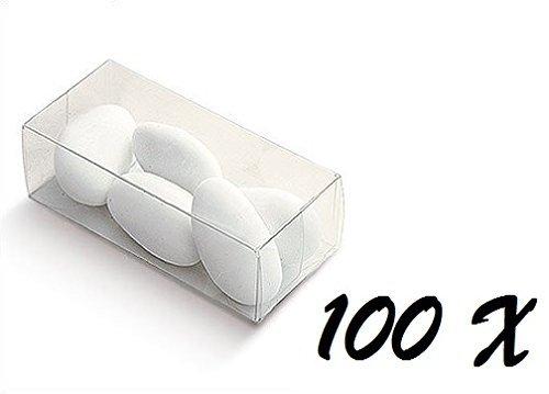 IRPot - 100 X SCATOLA PORTACONFETTI IN PLASTICA TRASPARENTE RETTANGOLARE 03750