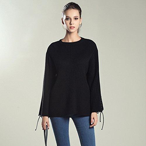 HY-Sweater Gestrickte Primer Shirt Herbst und Winter neue Frauen Trompete Ärmel Pullover Rundhals Europa und den Vereinigten Staaten lockerer Typ, schwarz, alle Code