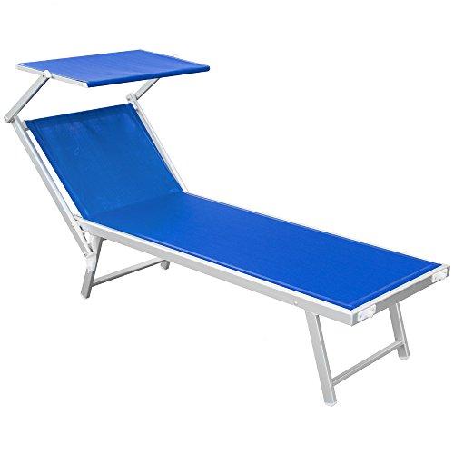 Galleria fotografica Lettino stabilimento pieghevole mare spiaggia leggero 190x61cm blu Rimini 05102