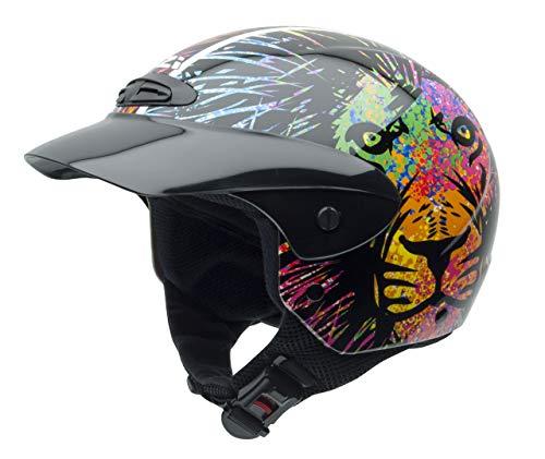 NZI Single Jr Grafik Offenes Gesicht Motorradhelm, Glanz Lion, Größe L -