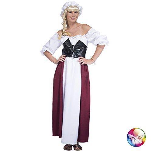 Aptafêtes–cu060609/14–16aubergiste–Frauen Kostüm Kleid/Gürtel/Top–Größe (Moyen Age Femme Kostüm)