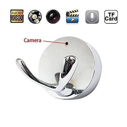 EPTEK @ 16GB TF Karte+ HD 1080P Weitwinkelobjektiv Mini Spy Hiiden Kleider Haken Kamera Design Versteckte Kindermädchen Kamera DVR Kleiderbügel DVR Videorecorder für Home Security Nanny Cam (Kamera Spy Hook)