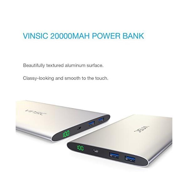 VINSIC Powerbank, 20000mAh Tre Porte QC 3.0 Rapida Carica Caricabatterie Portatile Micro&Type-C Dual USB Output Batteria… 2 spesavip