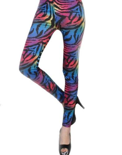 Multi-Coloured Animal Print Leggings. Eye-catching, multi-coloured stretchy zebra print