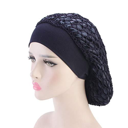 Lurrose Nacht Schlaf Mütze Doppel getönte Haarnetz elastisch gestrickt breitkrempigen Schlaf Kopf Abdeckung Haarausfall Chemo Caps für Frauen Mädchen