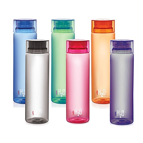Cello H2O Unbreakable Bottle, 1 Litre, Set of 6, Multicolour