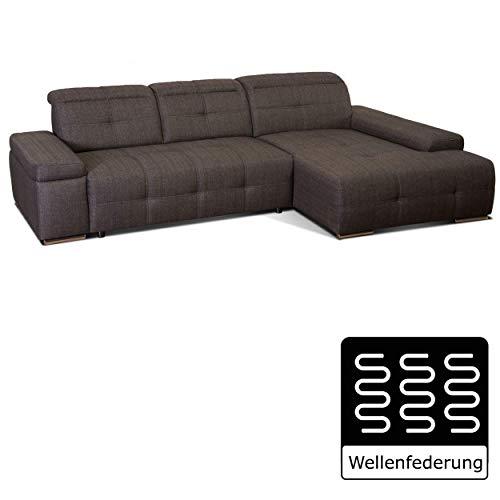 Cavadore Ecksofa Mistrel mit Longchair XL rechts/XXL-Sofa mit aufwendiger Steppung und modernem Design/ 273 x 77 x 173 / Braun-Schwarz, chrom, -