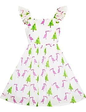 Mädchen Kleid Kiefer Baum Vogel Reiher Brief Drucken Swing Schulter Gr. 98-146