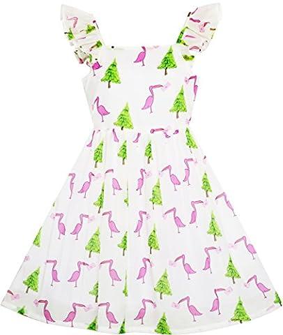 Sunny Fashion Robe Fille Pin Arbre Oiseau Héron Lettre Imprimer Balançoire Épaule 10 ans