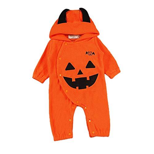 Keephen Baby Hare Jumpsuit Junge Mädchen Halloween Kostüm Kürbis Teufel Warme Pyjamas Haber Hoodie Weihnachten Overall Orange70cm (Jungen Teufel Kostüme)