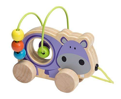 Joueco Mini-Motorikschleife Motorikspiel Hinterherziehtier Spielschleife für Kleinkinder mit bunten Kugeln und schönem Nilpferd Motiv aus Holz
