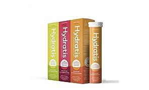 HYDRATIS Pastilles Hydratation accélérée - Boisson Electrolytes Magnésium, Zinc, Potassium - Pack 3x20 pastilles Fruits des Bois + Citron Fleur de Sureau + Pêche