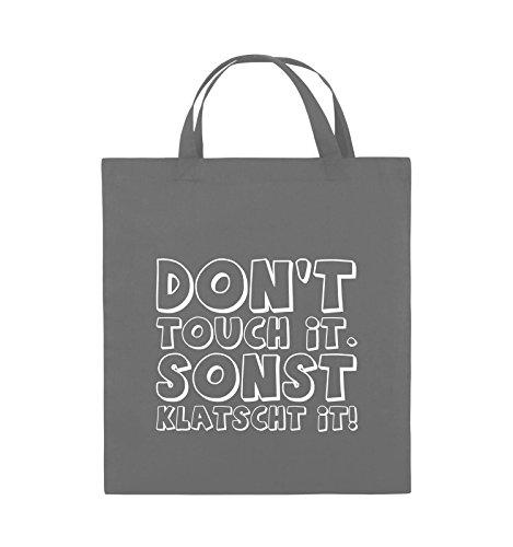 Comedy Bags - DON'T TOUCH IT - KLATSCHT - Jutebeutel - kurze Henkel - 38x42cm - Farbe: Schwarz / Silber Dunkelgrau / Weiss