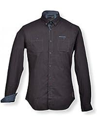 NO-EXCESS - Chemise homme manches longues - Chemise homme de couleur noir motifs imprimés