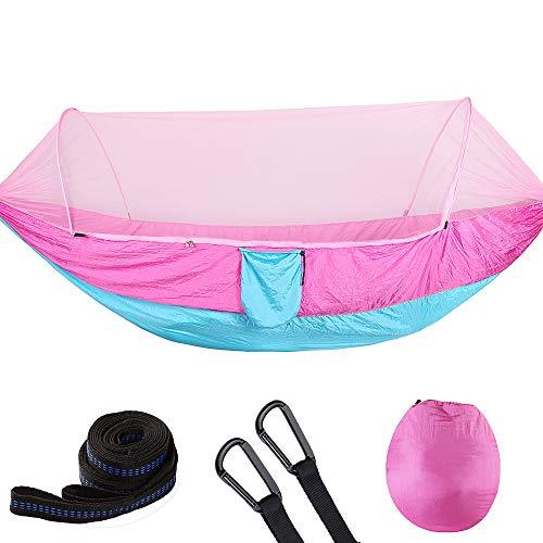 ATYMD Outdoor Hängematte Zelt Fallschirm Tuch Hängematte mit Moskitonetz Ultraleicht Nylon Doppel Multi-Color Camping Luftzelt,Pink