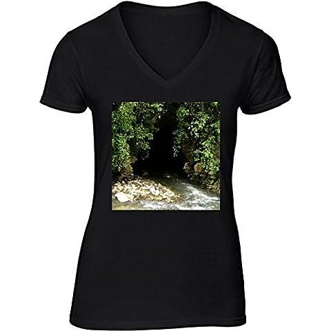 Camiseta V Cuello para Mujer - Cuevas Waitomo, Nueva Zelanda by Cadellin