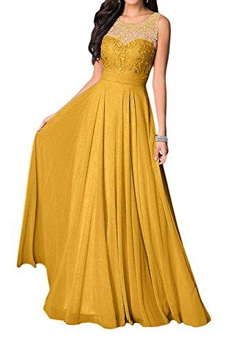Missdressy Damen Elegant Chiffon Charmeuse Applikation Rundkragen Aermellos Lang Abendkleider Partykleider Festkleider - Kleid Goldene Lange
