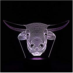 Tête de vache 3D Couleurs modifiables LED Lampe de nuit Illusion Bouton tactile
