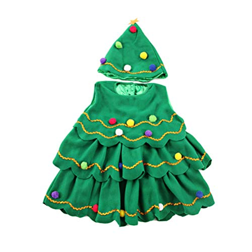 (BESTOYARD Weihnachtsbaum Kostüm mit Weihnachtskugel Kinder Tunika Mütze Weihnachten Kostüm für Kleinkind Größe 150cm 2 Stück (Grün))