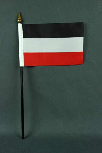 Kleine Tischflagge Deutsches Kaiserreich schwarz weiß rot Kaiserflagge 15x10 cm mit 30 cm Mast aus PVC-Rohr, ohne Ständerfuß