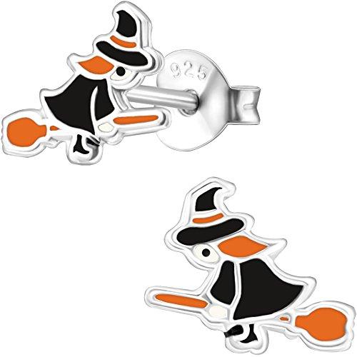 (JAYARE Hexe Ohrstecker für Kinder 925 Sterling Silber 7 x 9 mm schwarz orange Mädchen-Ohrringe Kinderschmuck)