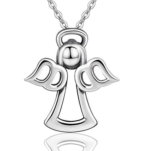 CELESTIA Amulett Engel Halsketten 925 Sterling Silber Schmuck Süße Wächter Engel Anhänger mit 46cm Rolokette und Geschenkbox, Beste Geschenke für Teenager Mädchen Frauen