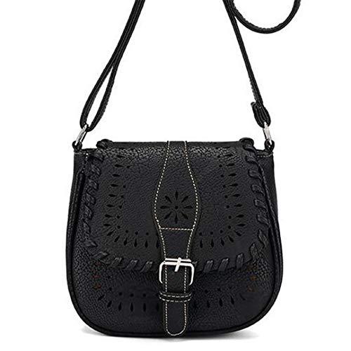 Kenneth Cole Designer-handtasche (Frauen Vintage Messenger Bags Pu Leder Designer Handtasche Umhängetasche Black)